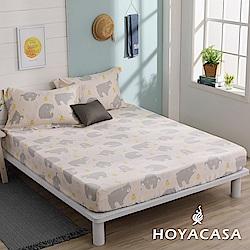 HOYACASA淘氣樂樂 單人親膚極潤天絲床包枕套三件組