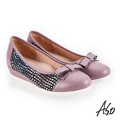 A.S.O 新式復古 異材質拼接真皮低跟鞋 淺紫