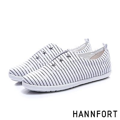 HANNFORT CALIFORNIA 條紋星星帆布休閒鞋-女-白