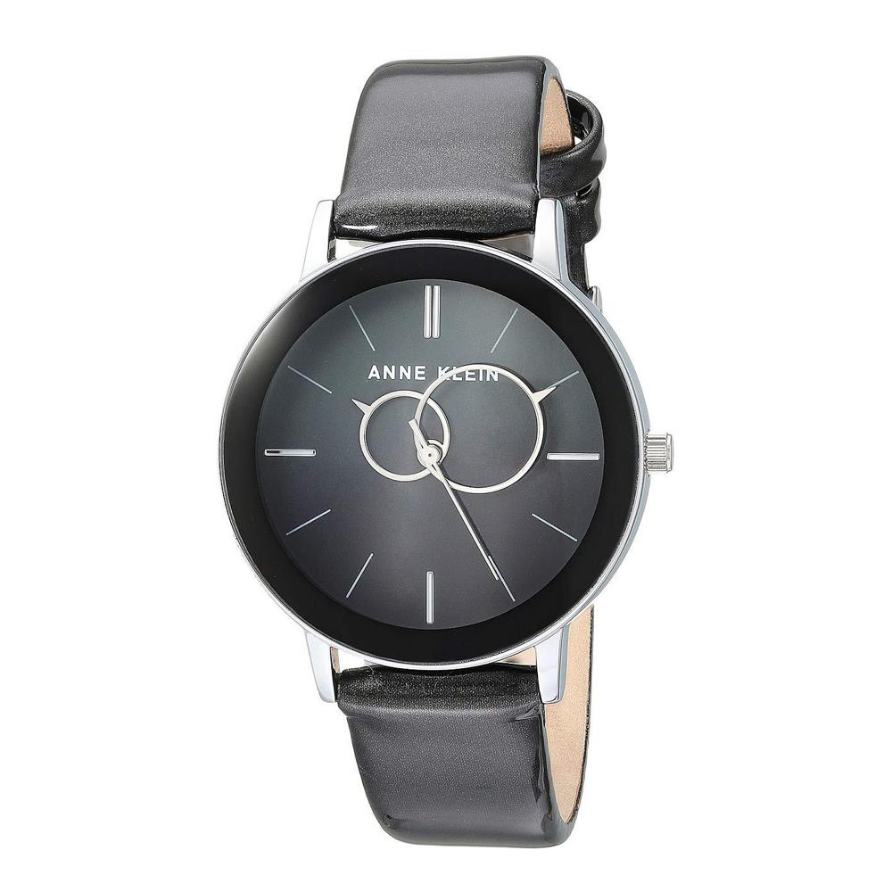 Anne Klein 深邃黑狂潮 漸層亮漆真皮腕錶-漸層黑色x34mm