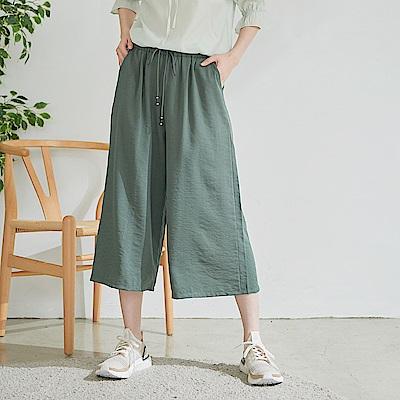 慢 生活 涼感皺面束腰綁帶寬口褲- 綠/藍