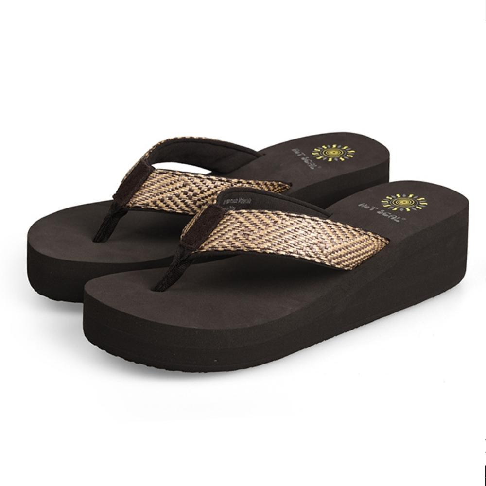 JMS-超舒適撞色編織厚底夾腳海灘拖-棕色