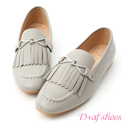D+AF 學院經典.質感釦飾流蘇樂福鞋*灰