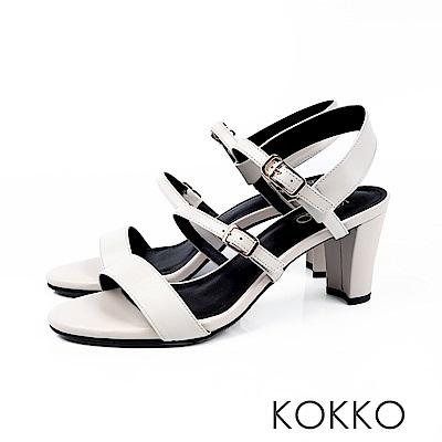 KOKKO - 極度簡約一字細帶粗跟真皮涼鞋 - 豆漿米