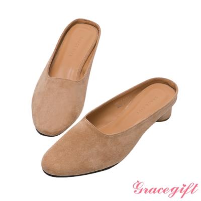Grace gift-方頭平口木紋低跟鞋 卡其