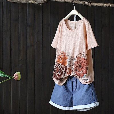 百花爭妍/印花亞麻針織T恤短袖棉麻上衣-設計所在