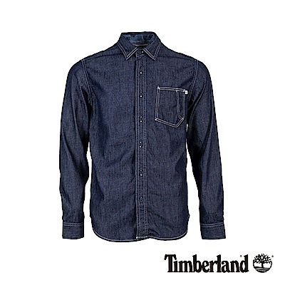 Timberland 男款藍色水洗牛仔長袖襯衫|A1WR1