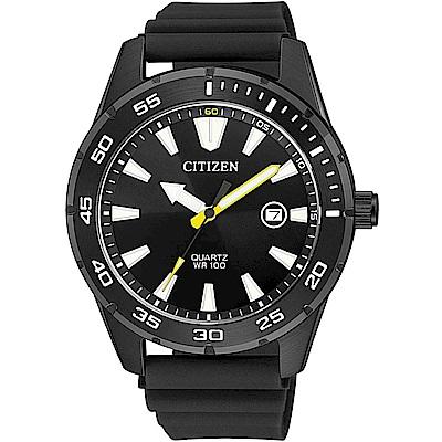 CITIZEN星辰 經典潛水造型百米防水石英錶(BI1045-13E)-黑/42mm