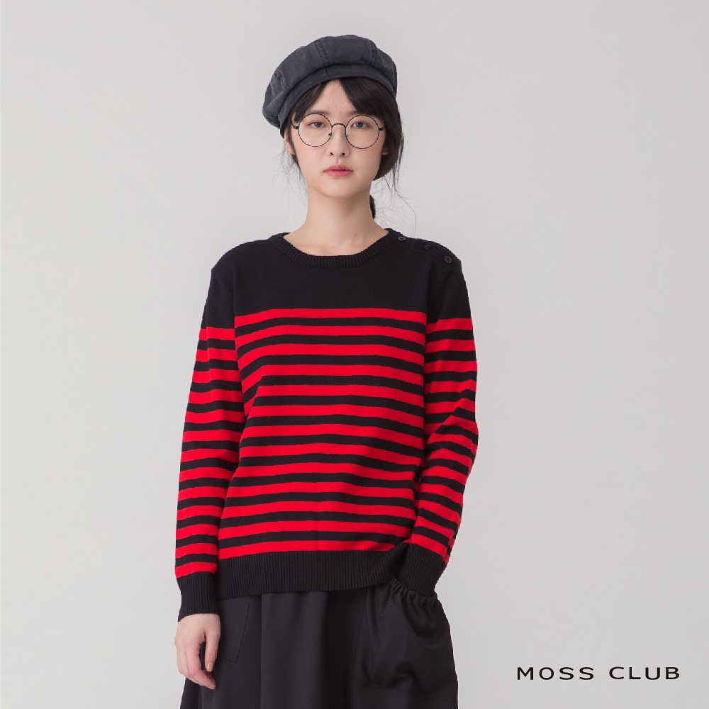 MOSS 英倫風條紋 針織衫