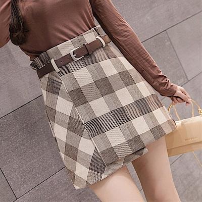 DABI 韓系格子半身裙高腰顯瘦系腰帶包臀單品短裙