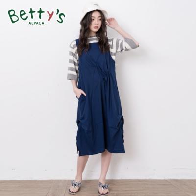 betty's貝蒂思 抓摺無袖棉麻長洋裝(深藍)