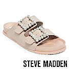 STEVE MADDEN-NORA-珍珠飾釦雙帶平底拖鞋-粉色