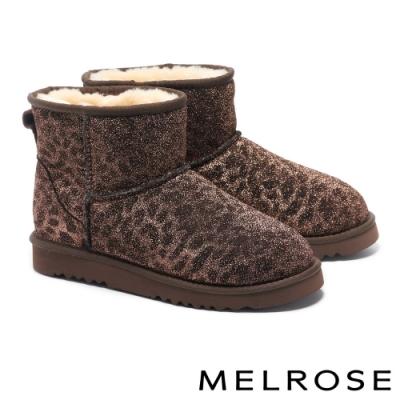 短靴 MELROSE 低調時髦豹紋絨毛厚底短靴-咖