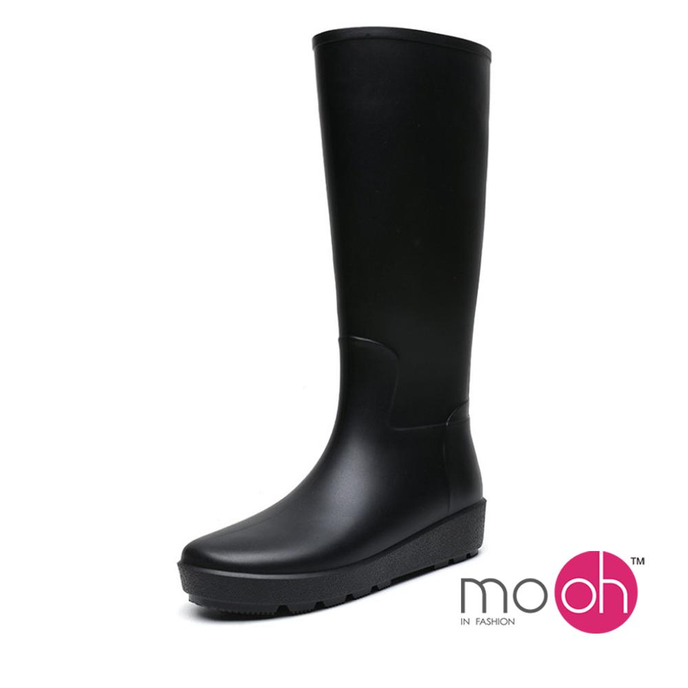 mo.oh 法式素面柔軟長筒厚底雨鞋