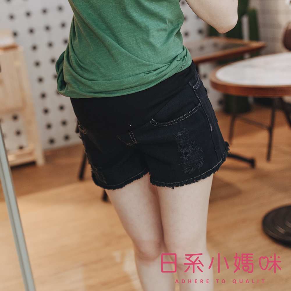 日系小媽咪孕婦裝-孕婦褲~不修邊抓破牛仔短褲 M-XL (共二色)