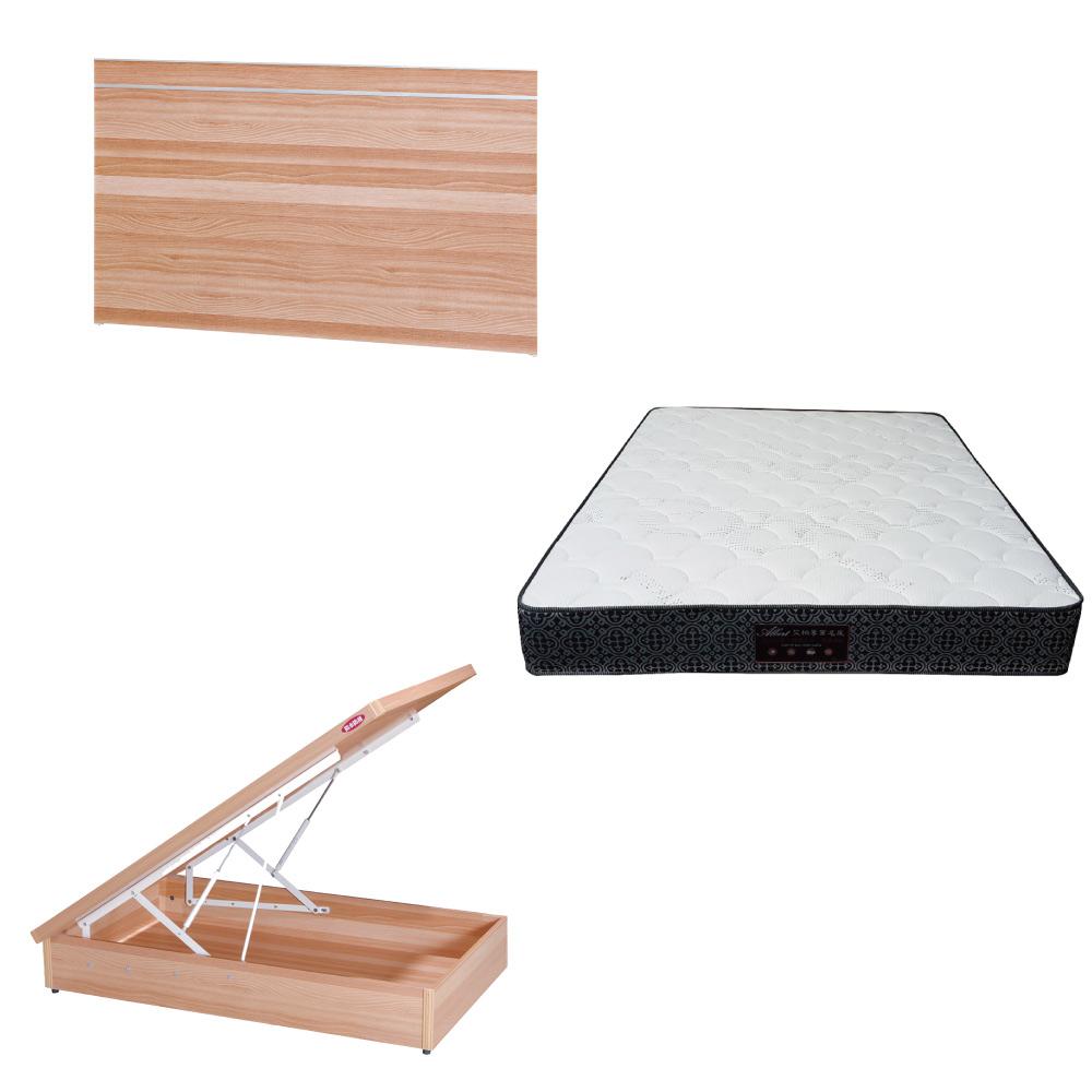 綠活居 梅娜3.5尺單人床台三式組合(床頭片+後掀床底+防蹣抗菌獨立筒床墊)五色可選