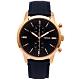 FOSSIL 霸氣圓弧鏡面計時皮革錶帶手錶(FS5436)-藍面X藍色/44mm product thumbnail 1