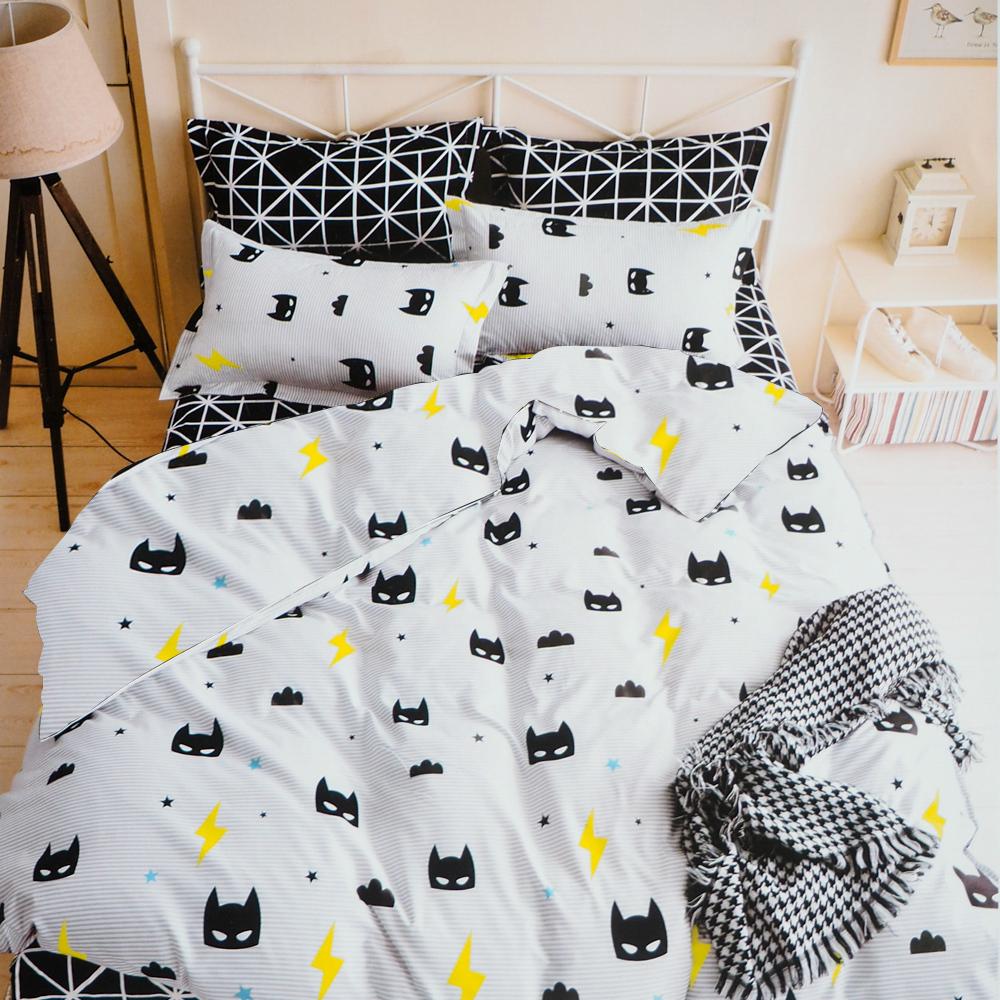 A-one雙人加大床包被套組四件式 小蝙蝠 美肌磨毛 台灣製