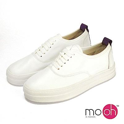 mo.oh-全真皮-拚色牛皮綁帶厚底休閒鞋-白色