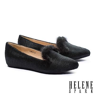 低跟鞋 HELENE SPARK 奢華暖意水貂毛設計全真皮樂福低跟鞋-綠