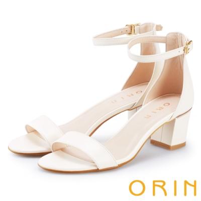 ORIN 一字繫踝繞帶後包粗跟涼鞋 白色