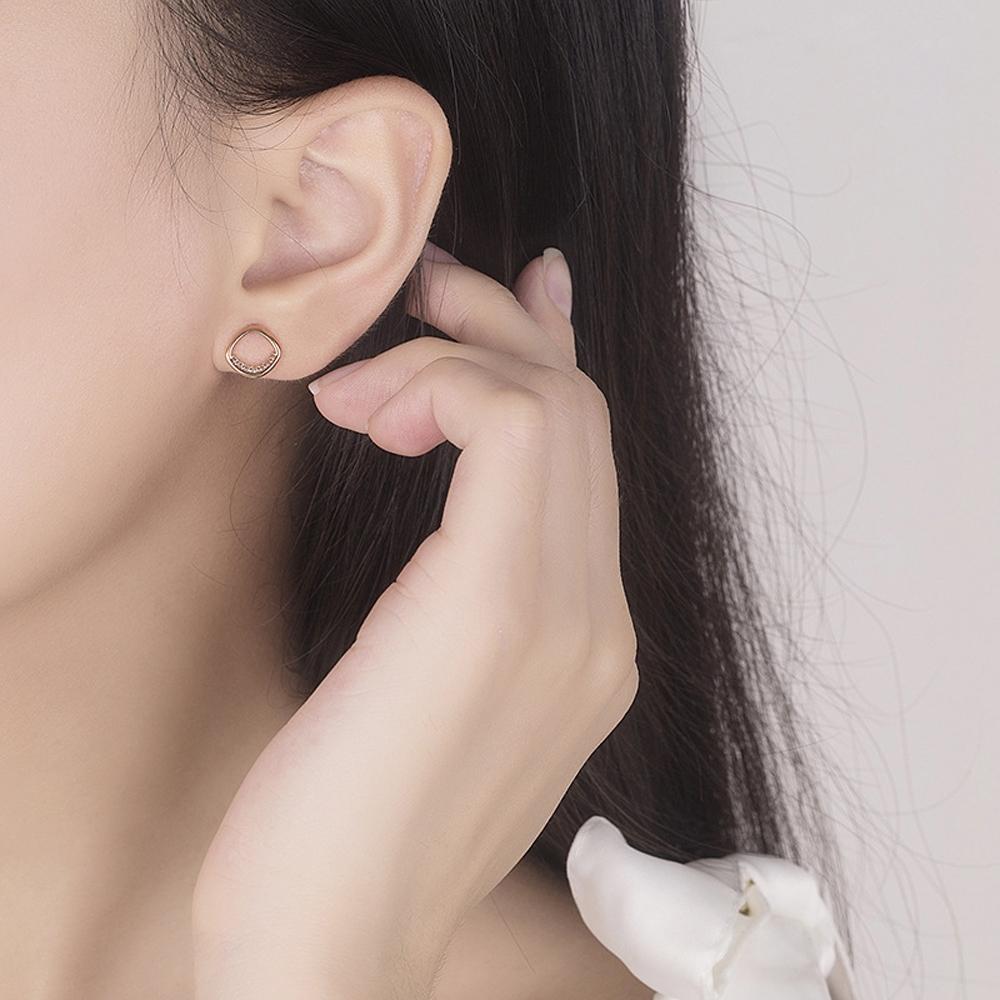 梨花HaNA 韓國925銀針簡單的愛方型鑲鑽耳環