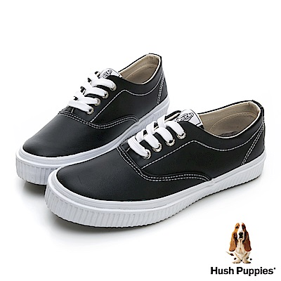 Hush Puppies  經典中性皮質咖啡紗休閒鞋-黑色