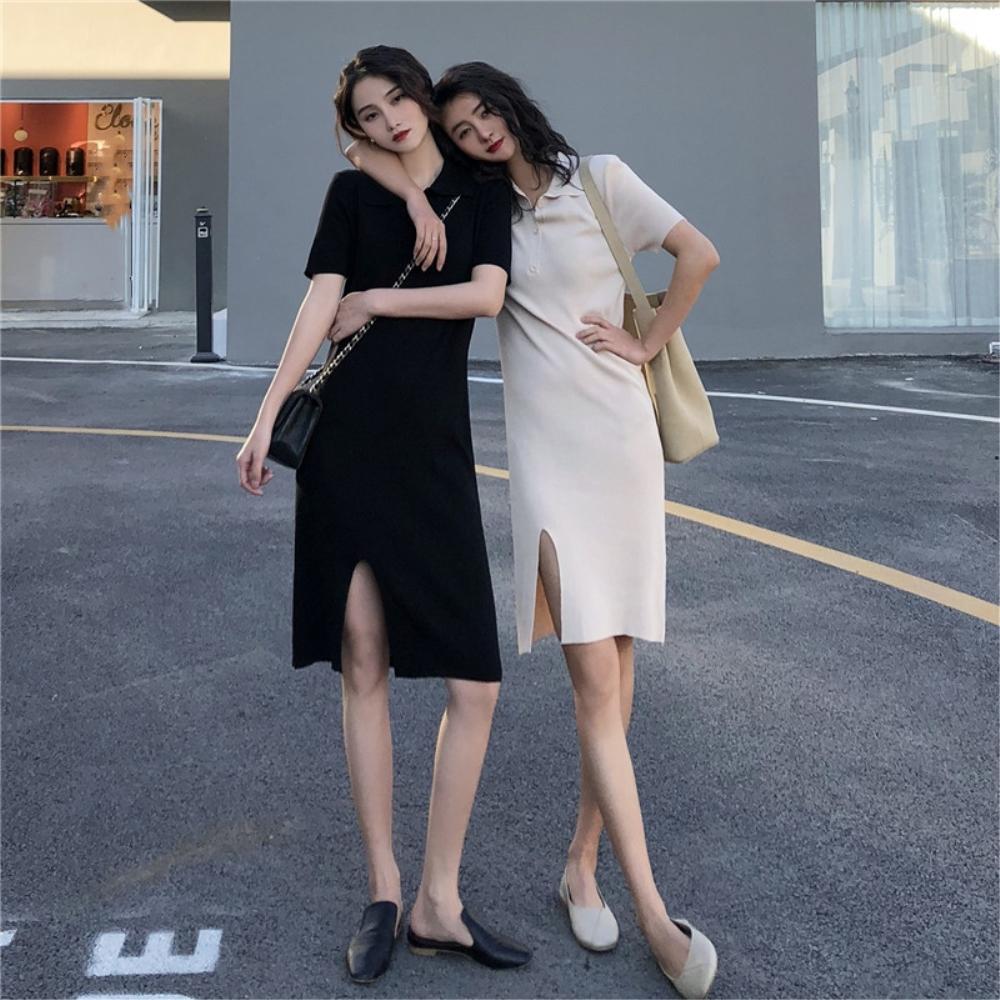 DABI 韓系氣質修身顯短袖包臀開叉針織短袖洋裝