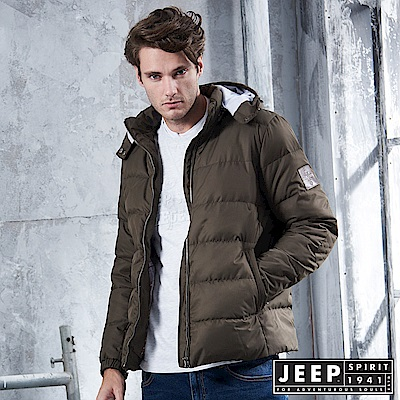 JEEP 時尚簡約造型圖騰羽絨外套 -橄欖綠