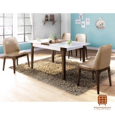 漢妮Hampton艾卡爾系列5尺拉合式餐桌椅組-1桌4椅-120~150x80x75