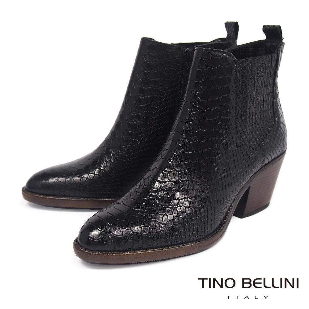 Tino Bellini歐洲進口蛇紋粗高跟短靴_黑