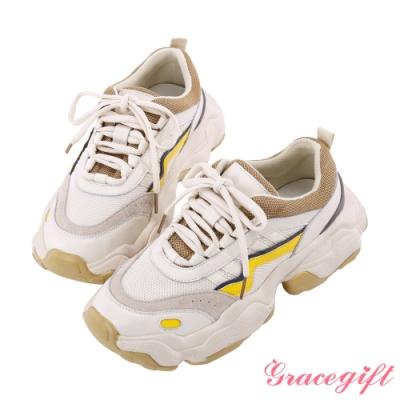 Grace gift-復古拼接線條老爹鞋 米白
