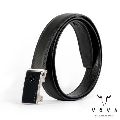 VOVA - 商務紳士鋼琴鏡面自動扣皮帶 - 亮銀色