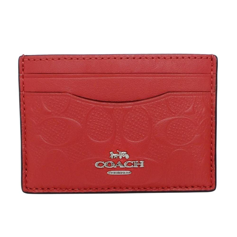COACH紅色浮雕C Logo全皮雙面票卡夾