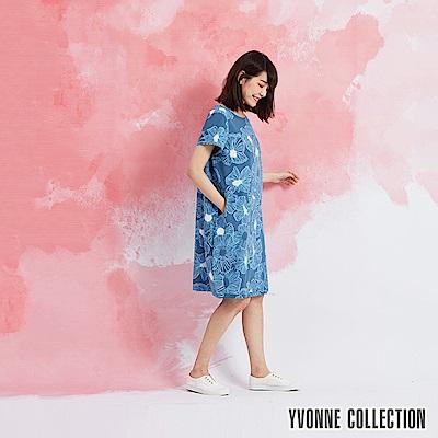 YVONNE 棉麻花卉圓領短袖洋裝-藍