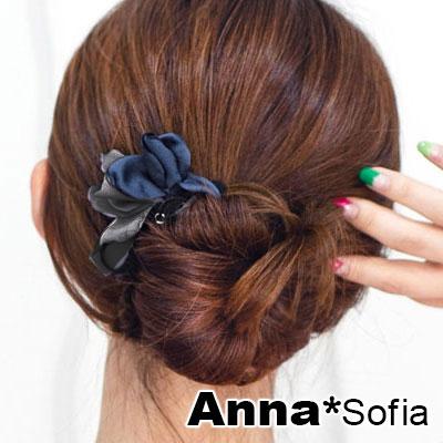 【滿額再7折】AnnaSofia 雙色花瓣垂珠 盤髮棒盤髮器髮圈(藍灰系)