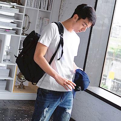 素面圓領短袖上衣‧男8色-OB大尺碼