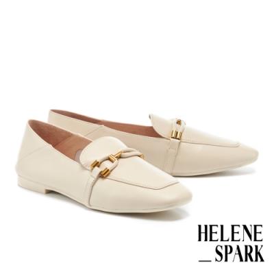 低跟鞋 HELENE SPARK 都會時尚金屬飾帶全真皮樂福低跟鞋-米