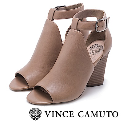 Vince Camuto 真皮革繞帶魚口粗跟涼鞋-杏色