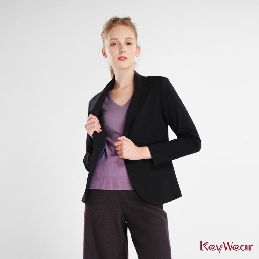 KeyWear奇威名品    內裡設計西裝長袖外套-藍黑色