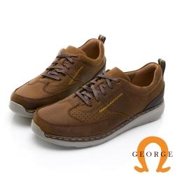 GEORGE 喬治皮鞋 超輕系列 麂皮綁帶舒適厚底氣墊鞋-棕色