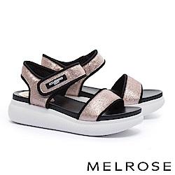 涼鞋 MELROSE 潮感帥氣金蔥寬版繫帶魔鬼氈厚底休閒涼鞋-粉