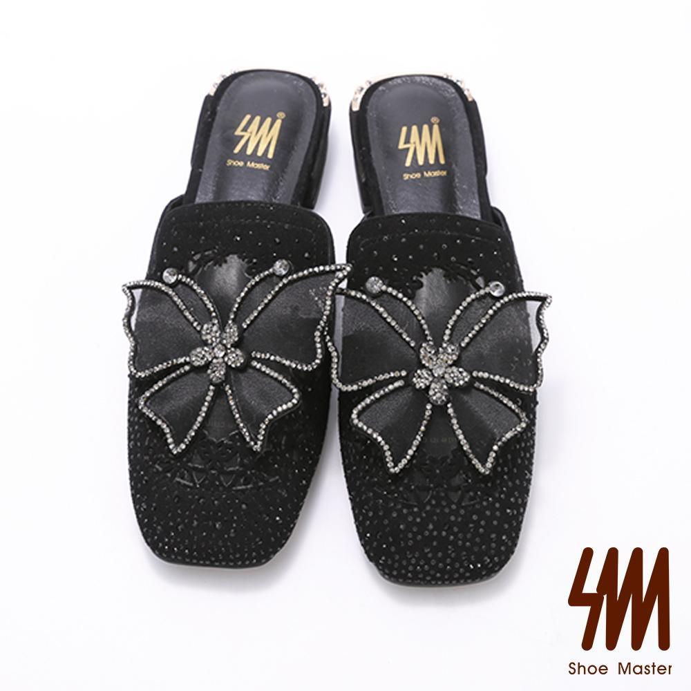 SM-華麗立體蝴蝶水鑽穆勒鞋
