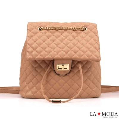 La Moda 不敗小香風菱格紋多背法大容量肩背後背包(粉)