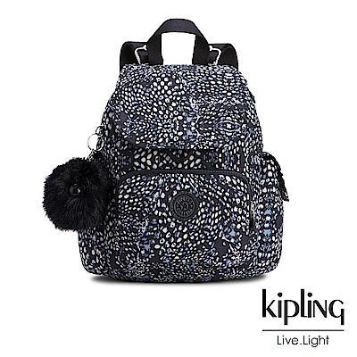 Kipling經典款深藍羽毛印花掀蓋後背包(小)
