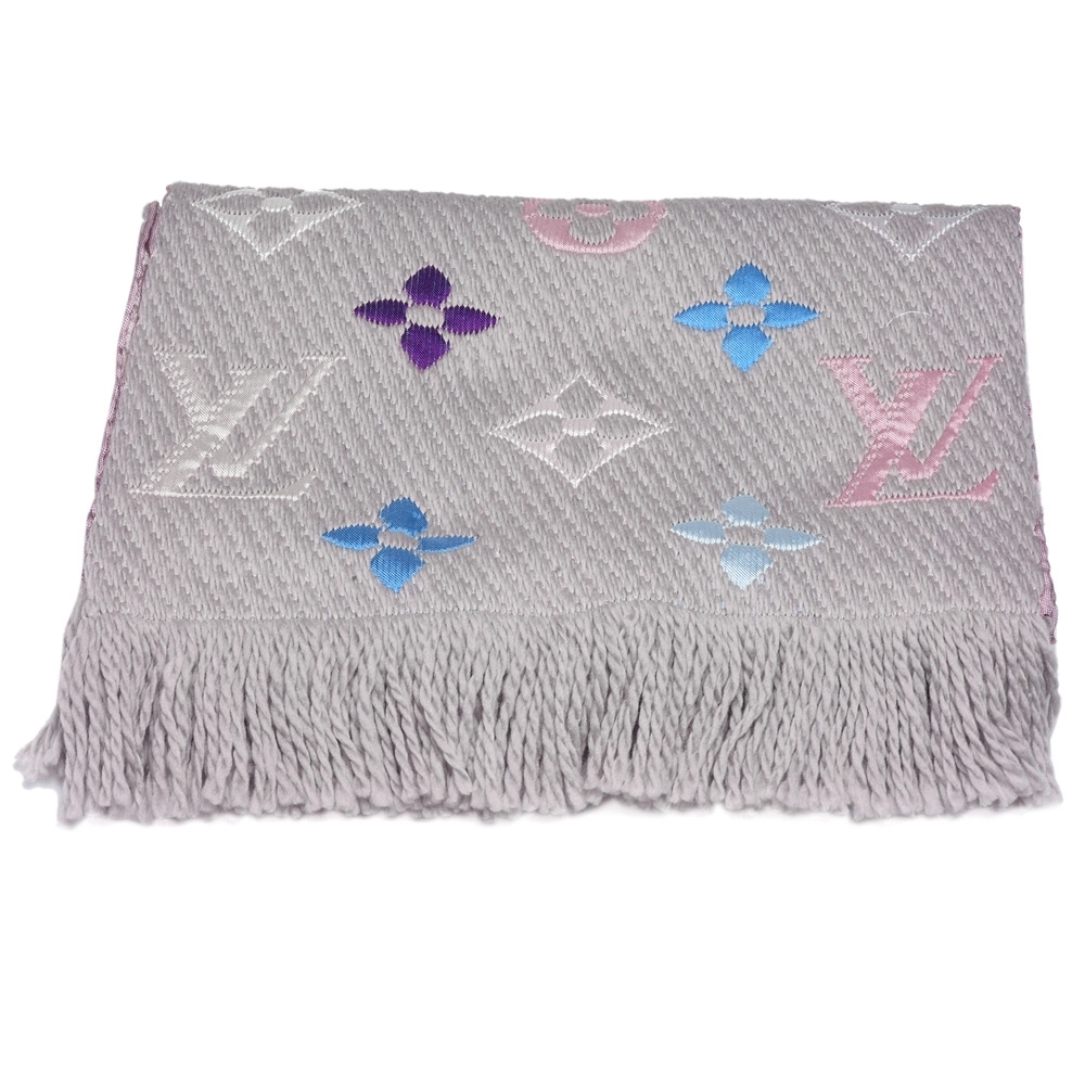 LV M75874 LOGOMANIA RAINBOW雙面多彩織花羊毛針織圍巾(珍珠灰)