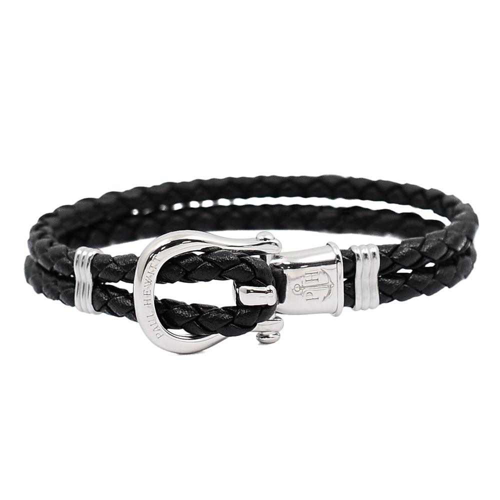 PAUL HEWITT 德國出品 Phinity 黑色皮革編織 銀色錨鍊釦鎖 手環手鍊