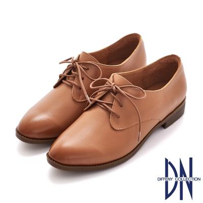 DN休閒鞋_MIT擦色牛皮綁帶低跟牛津鞋-棕