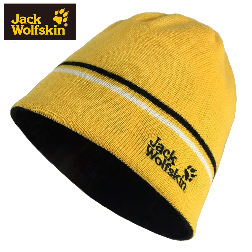 【Jack wolfskin 飛狼】LOGO條紋毛帽 雙面戴針織保暖帽『檸檬黃』