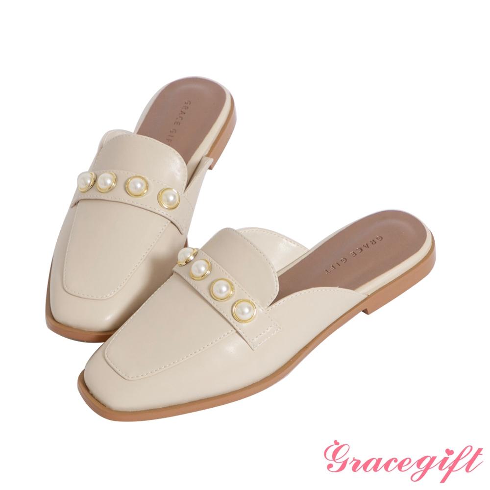 Grace gift-珍珠低跟穆勒鞋 米白